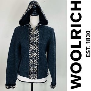 Woolrich gray wool full zip up hoodie sweater Med